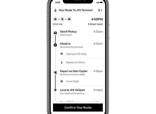 I voli di Uber Copter si prenotano nell'app del servizio di ride sharing