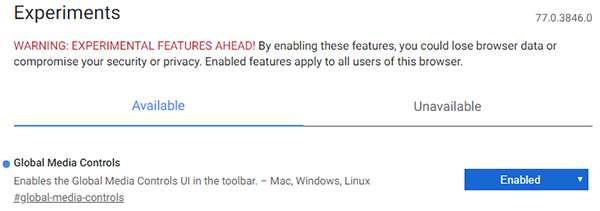 La funzionalità Global Media Controls nella versione Canary di Chrome