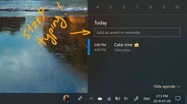 Windows 10 20H1 build 18936: creazioni eventi dalla barra delle applicazioni