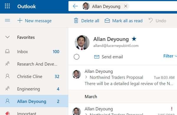 Outlook: i contatti preferiti