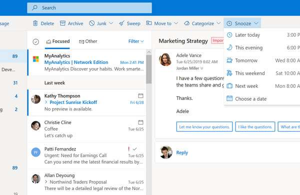 Il nuovo Outlook sul Web: la funzionalità Snooze per le email
