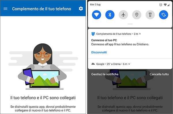 L'app Complemento de Il Tuo Telefono su Android