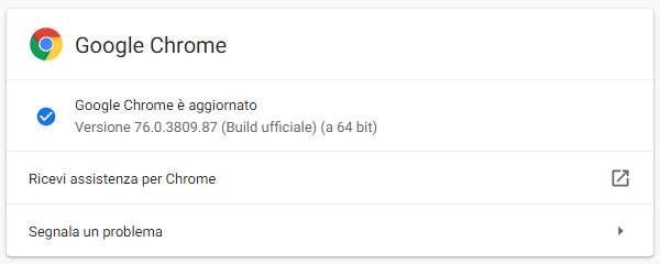 Il browser Chrome di Google aggiornato alla versione 76