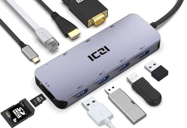 ICZI adattatore USB-C 10-in-1 con HDMI 4K, porte 3.0, Ethernet e lettore di schede
