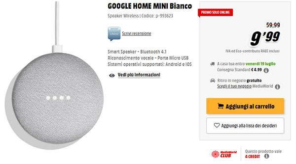 Google Home Mini in offerta su MediaWorld