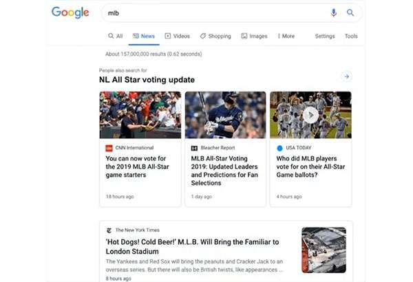 Google: il nuovo look del box News nelle SERP su desktop