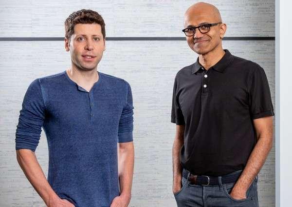 Sam Altman (OpenAI) e Satya Nadella (Microsoft)