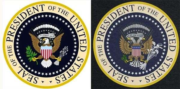 Il logo presidenziale: a sinistra l'originale, a destra la versione alterata
