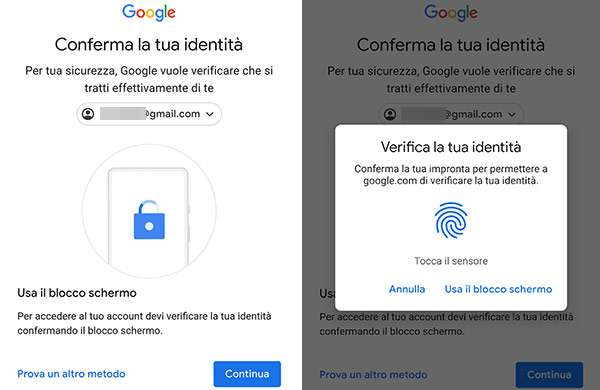 Autenticazione agli account Google nel browser di Android con l'impronta digitale