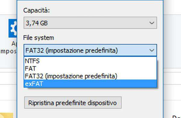 Il file system exFAT in Windows