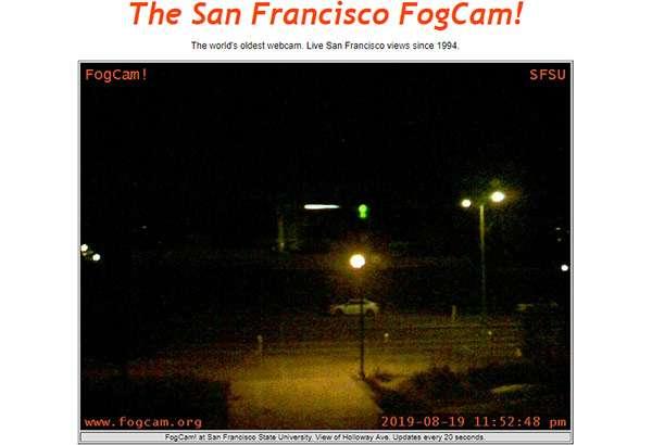 San Francisco di notte, fotografata dall'obiettivo di FogCam