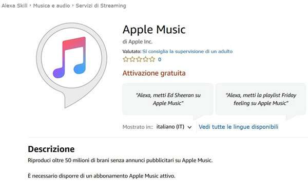 La skill Alexa per lo streaming di Apple Music