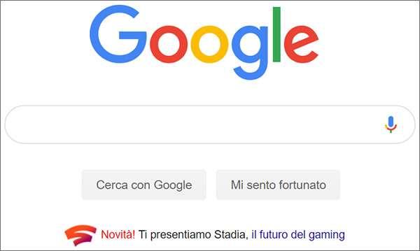 Un messaggio promozionale per Stadia sulla homepage di Google
