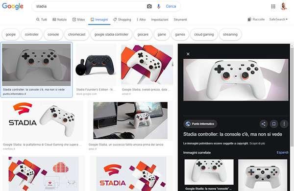 Il nuovo layout per le ricerche su Google Immagini