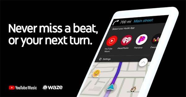 Lo streaming di YouTube Music per Waze