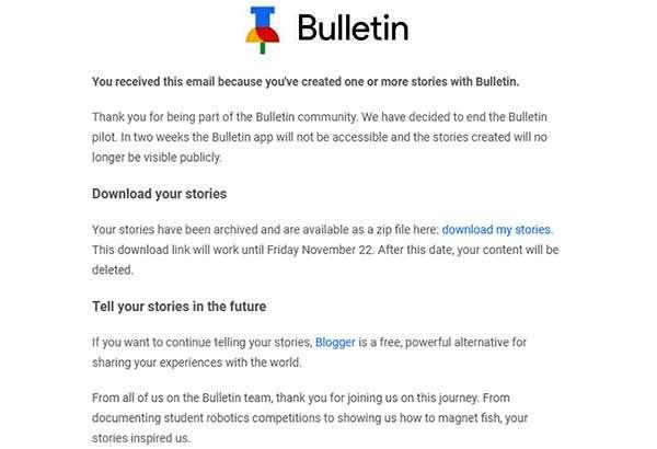 Google annuncia la chiusura di Bulletin