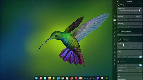 L'interfaccia del sistema operativo Deepin Linux