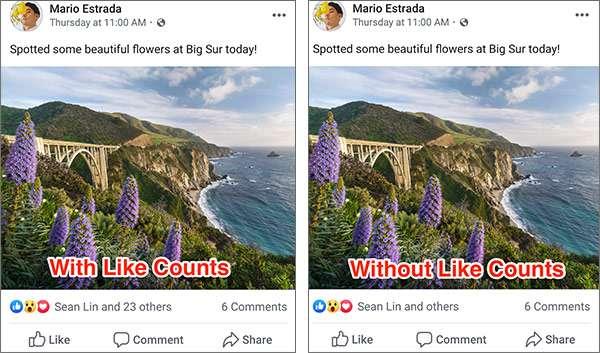 Facebook nasconde il numero di like e reazioni