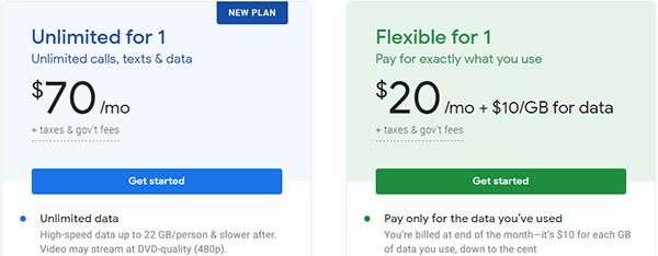 I piani di abbonamento proposti da Google Fi: Unlimited e Flexible