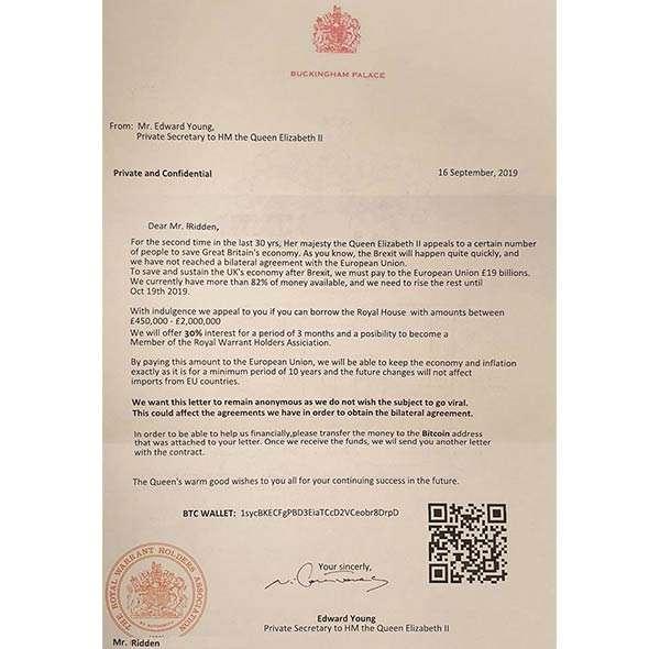 """La lettera inviata """"dalla Regina Elisabetta"""" a Paul Ridden"""