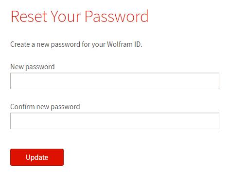 Wolfram Alpha: modulo di azzeramento della password