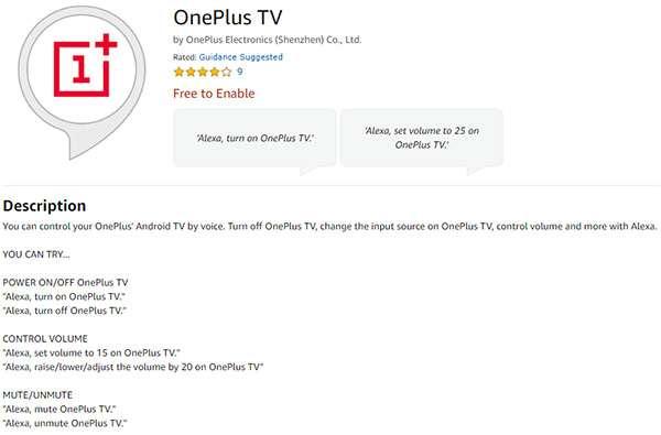 La skill di OnePlus TV per Alexa