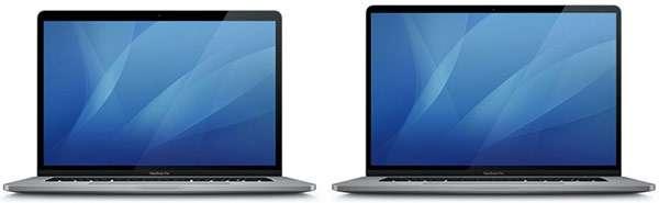 Il design del MacBook Pro da 15 pollici (a sinistra) a confronto con quello del nuovo modello da 16 pollici (a destra)