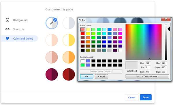 Chrome 78: color picker per personalizzare le nuove schede