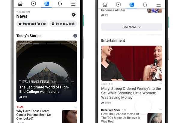 Facebook News, l'interfaccia su smartphone