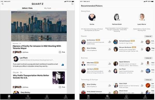 Screenshot per la versione iPadOS dell'applicazione Quartz