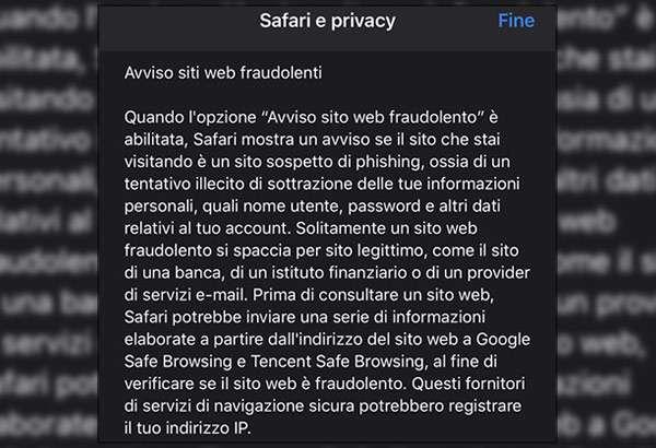 """Safari e la funzionalità """"Avviso siti web fraudolenti"""""""