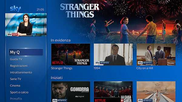 Il catalogo di Netflix in streaming su Sky Q