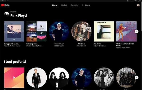 YouTube Music: l'interfaccia dell'app desktop