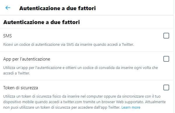 Le opzioni disponibili per attivare l'autenticazione a due fattori su Twitter