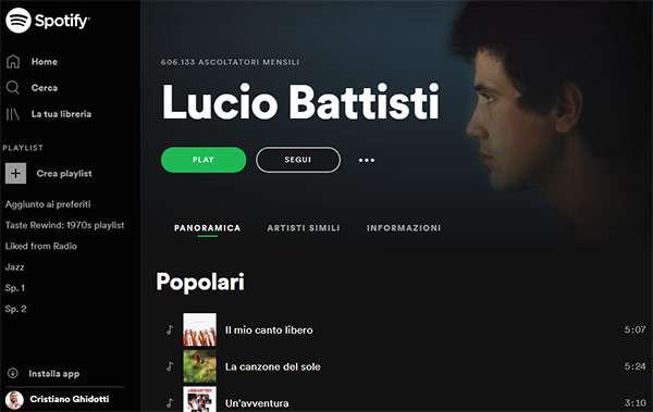 Lucio Battisti su Spotify