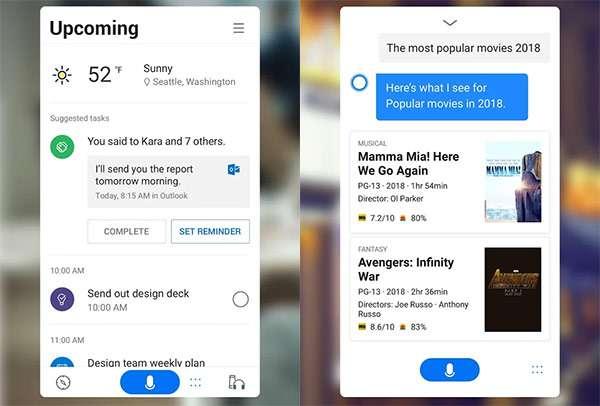 Screenshot per l'applicazione Android di Microsoft Cortana