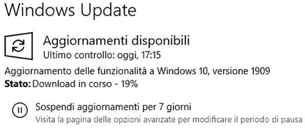 Windows 10 1909 in download attraverso Windows Update