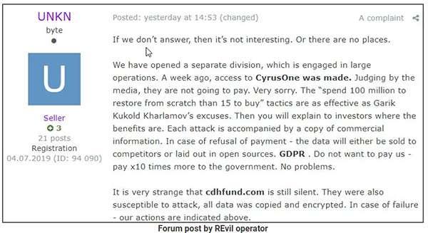 Il post degli autori del ransomware Sodinokibi/rEvil