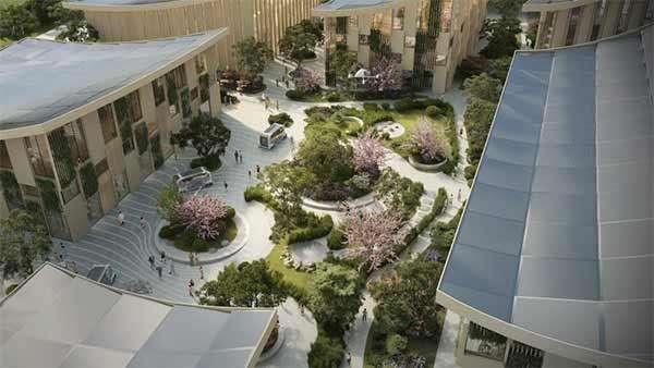 Un render per Woven City, la città del futuro secondo Toyota
