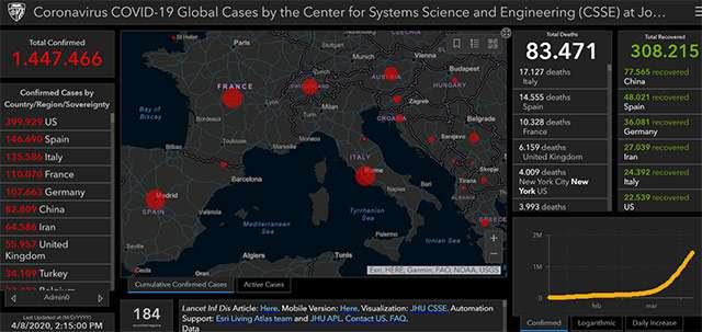La mappa del contagio da COVID-19 aggiornata al 08-04-2020