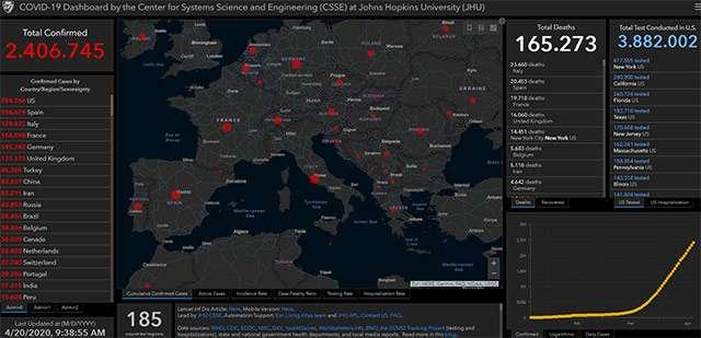 La mappa del contagio da COVID-19 aggiornata al 20-04-2020