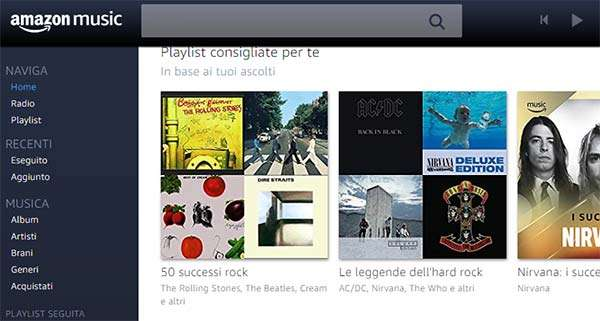 L'interfaccia Web di Amazon Music