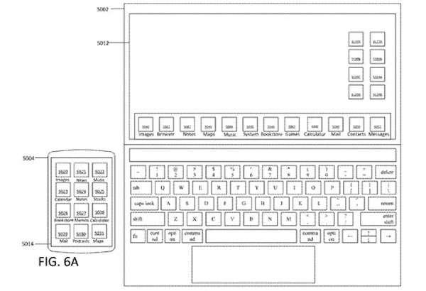 Un'immagine dal brevetto Apple che lascia ipotizzare l'arrivo di un MacBook touchscreen
