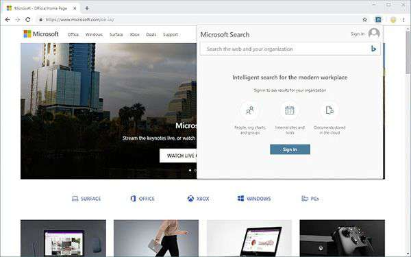 Screenshot per l'estensione Microsoft Search in Bing Quick Access