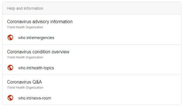 Le fonti autorevoli suggerite da Google per informarsi sul coronavirus