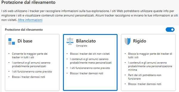 La protezione contro il tracking offerta dal nuovo Edge di Microsoft
