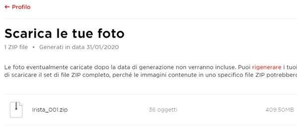 Canon Irista: come scaricare le foto e i progetti