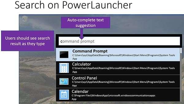 Uno screenshot mostra il funzionamento di PowerLauncher