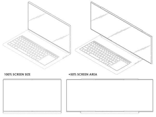 Un'immagine dal brevetto di Samsung che mostra un laptop dotato di schermo in grado di allungarsi del 50% in larghezza