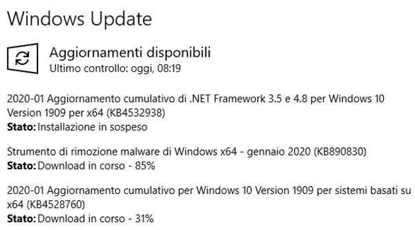 L'update rilasciato da Microsoft per i sistemi Windows